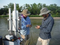 In field repair of suspended sediment particle size analyzer. North Loup River, NE, USA