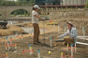 June and myself installing shallow piezometers in the Outdoor Stream Lab at Saint Anthony Falls, Minneapolis, MN.